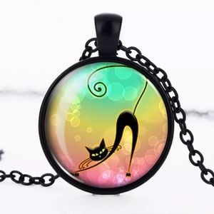 Black Cat Glass & Black Alloy Necklace